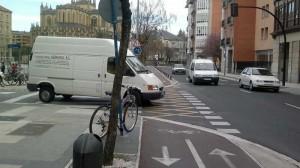Bidegorri peligroso para los ciclistas