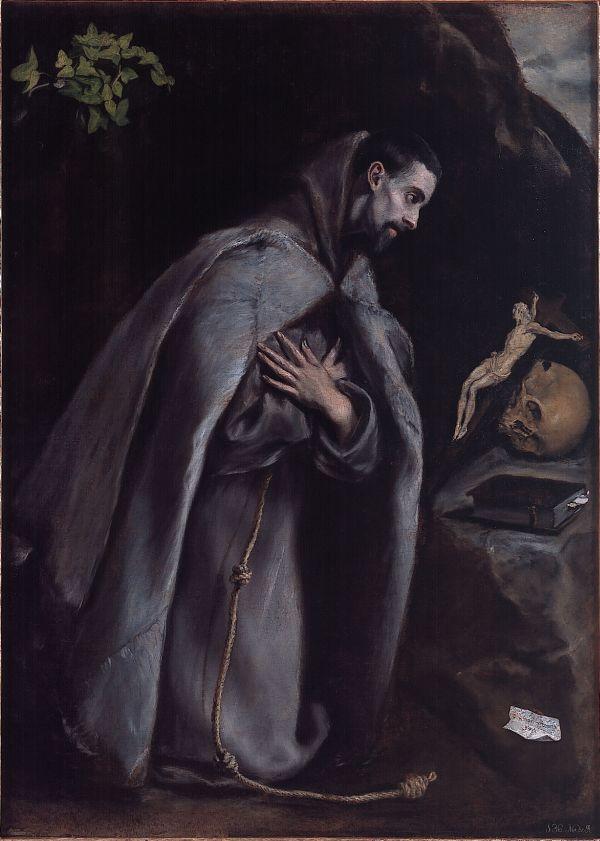 """""""San Francisco meditando de rodillas"""" de El Greco. Elizbarrutiko Arte Sakratuaren Museoa/Museo Diocesano de Arte Sacro, Vitoria-Gasteiz. Depósito de la Diputación Foral de Álava."""
