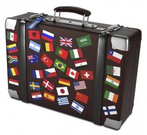 banderas en maleta