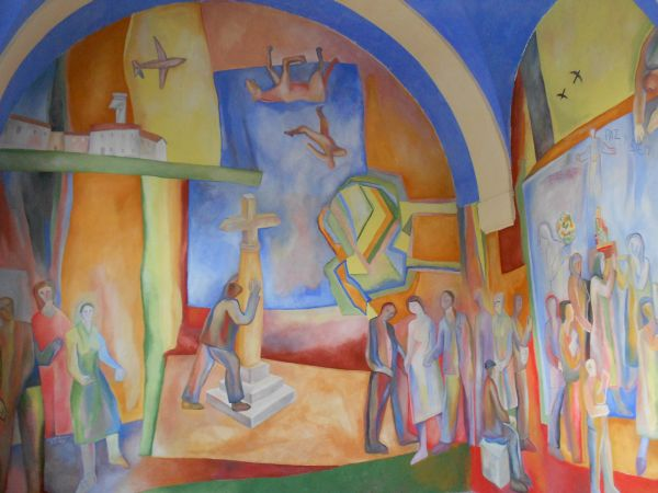 Antezana transforma su iglesia en un gran mural