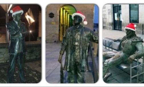 Las estatuas de Vitoria se ponen el gorro de Papá Noel
