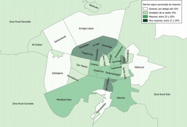 Índice de mayores por barrios (Ayuntamiento de Vitoria-Gasteiz)