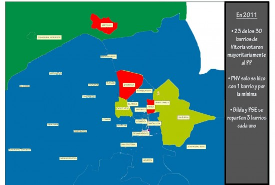 Mapa de Vitoria Resultados por barrios 2011