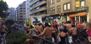 Incidentes en una marcha ciclista contra el TAV en Vitoria