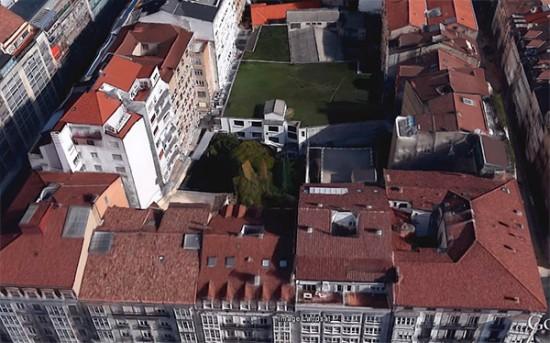 Imagen aérea de la zona, vista desde la Calle Dato (GoogleEarth)