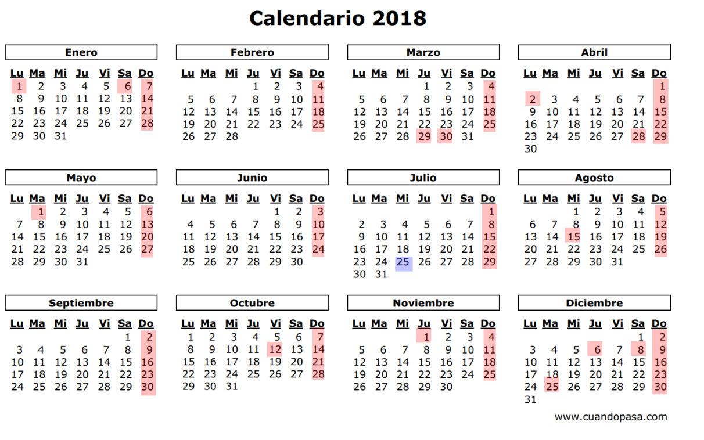 Resultado de imagen para calendario 2018