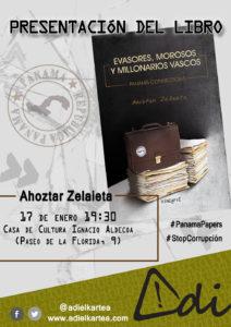 """Presentación del libro """"Evasores, morosos y millonarios vascos"""" @ Casa de Cultura Ignacio Aldeoca"""