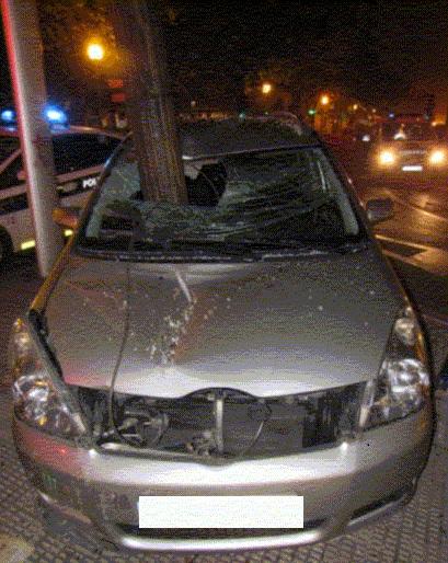 coche farola accidente
