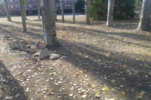 Restos de obras  y piedras en medio de un jardín de Ariznabarra