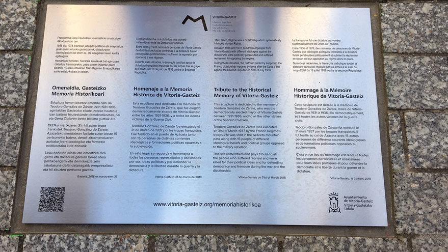 Placa colocada hoy en Celedones de Oro en homenaje a las víctimas del franquismo