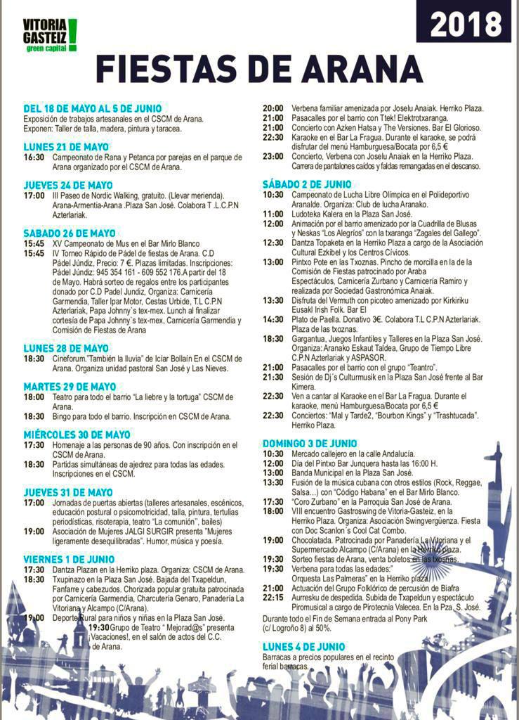 programa fiestas de arana 2018