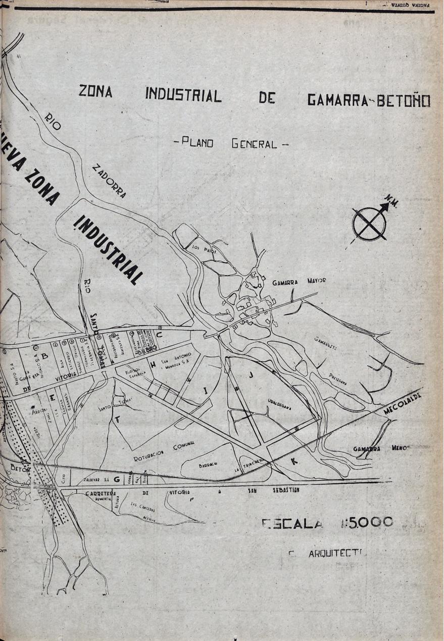 Plano de la futura zona Industrial de Gamarra-Betoño publicado en el Pensamiento Alavés el 8 de abril de 1957. Hemeroteca Liburuklik