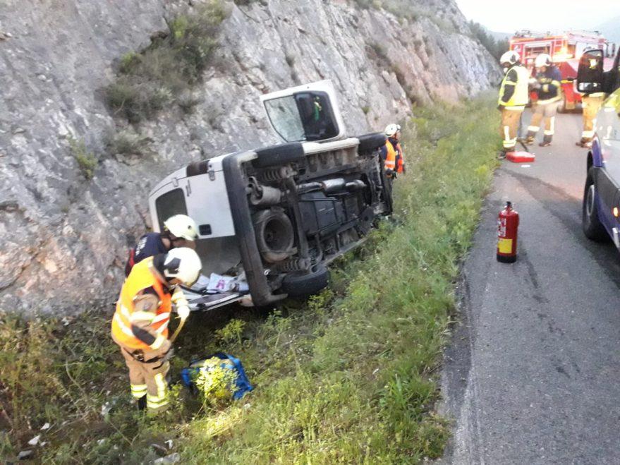 Accidente en la N124 en Labastida (@bomberosalava)