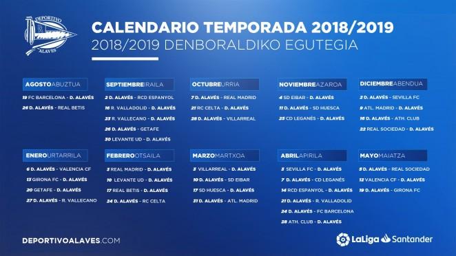 calendario alaves 2018/19