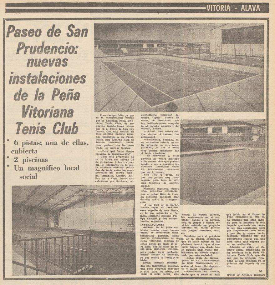 """Artículo con motivo de la inauguración de las instalaciones en Uleta de """"La Peña Vitoriana"""". Norte Exprés 26-12-1970. Liburuklik"""