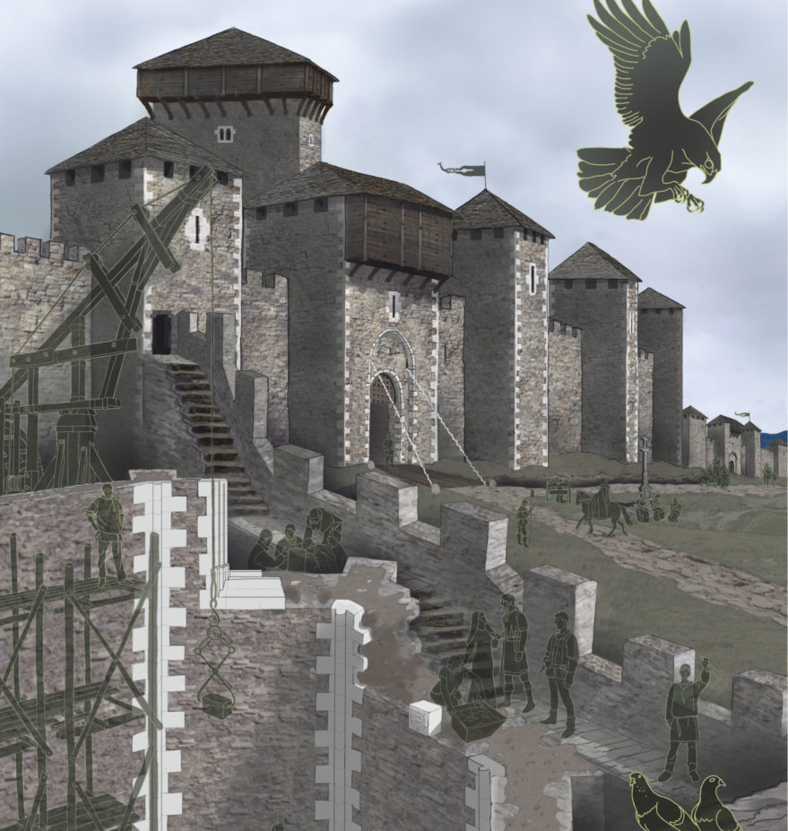 Recreación del Castillo de Vitoria en la tesis de Ismael García Gómez