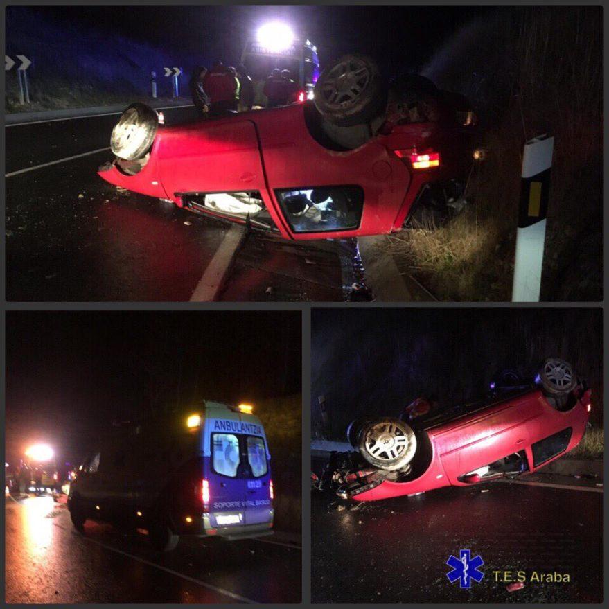 accidente vuelca coche ribabellosa