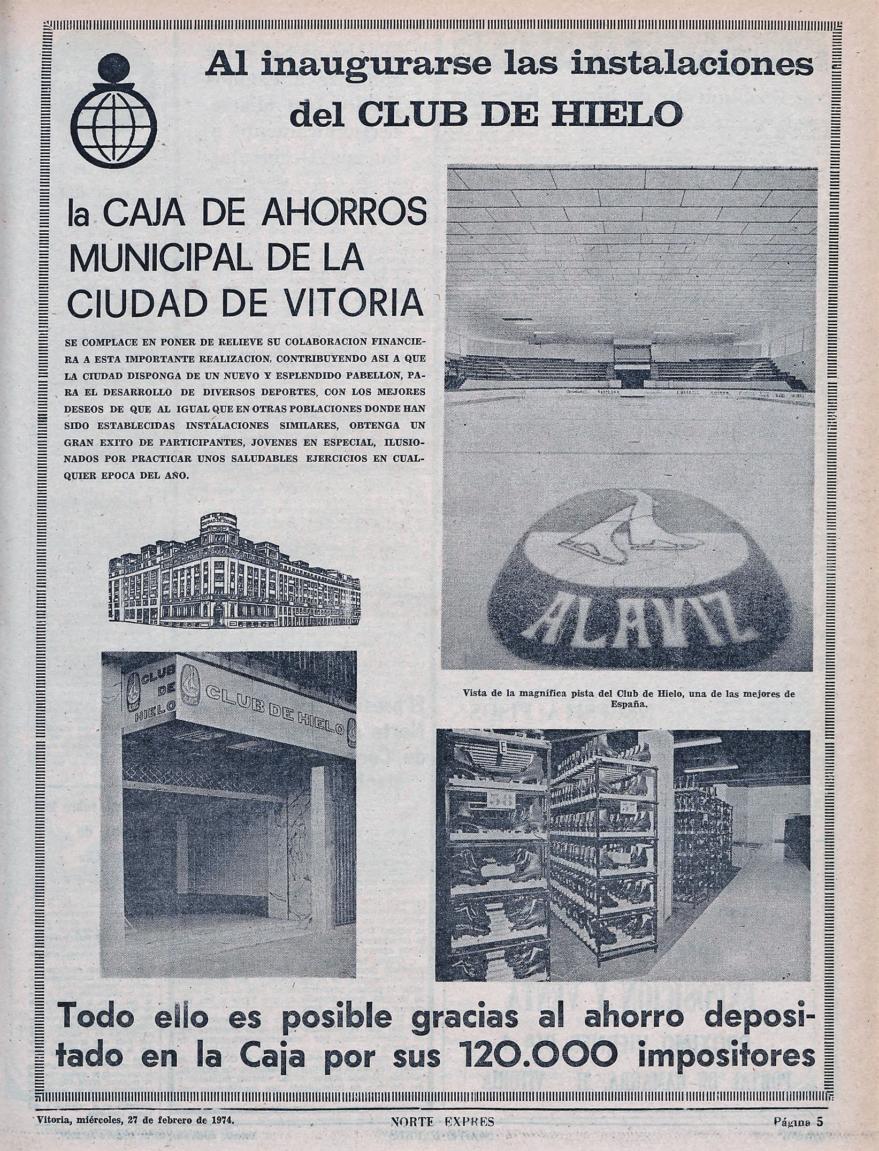 Anuncio de la Caja de Ahorros Municipal con motivo de la apertura al público de la pista de hielo. Norte Exprés de 27 de febrero de 1974. Fondo Liburuklik.