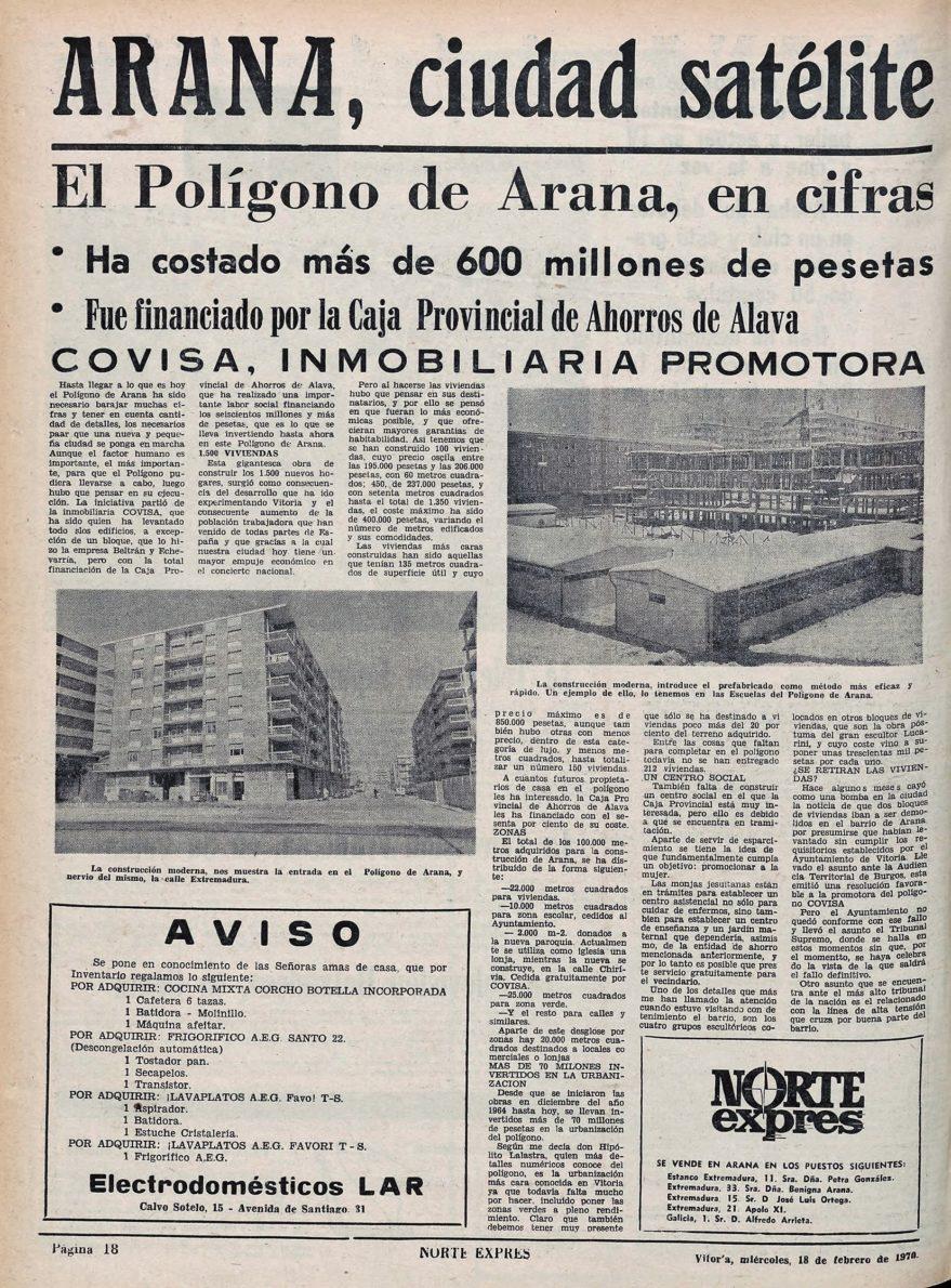 Artículo dedicado al barrio por el periódico Norte Exprés en 1970. Hemeroteca Digital Liburuklik.