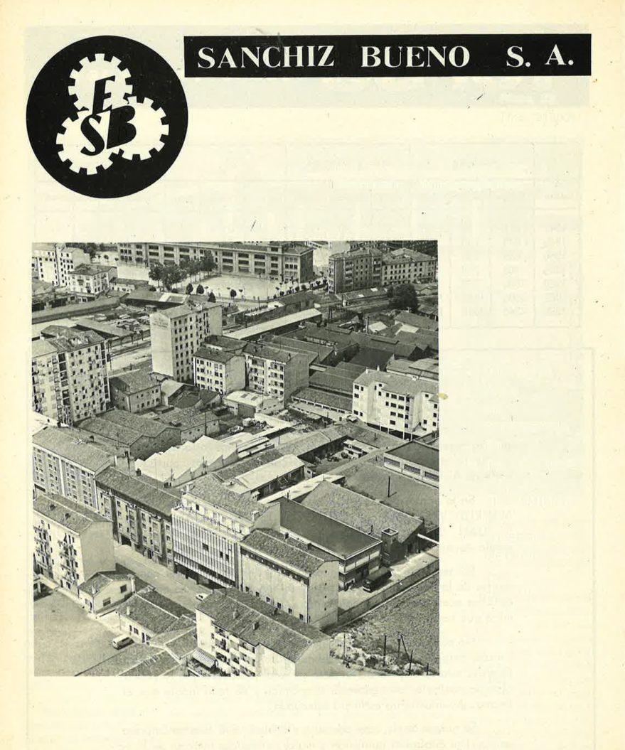 Publicidad de la empresa Sanchiz Bueno donde se puede apreciar el aspecto del entorno de la calle Arana cuando se alternaban pequeñas industrias y viviendas. Revista Resumen 11 de abril de 1970.