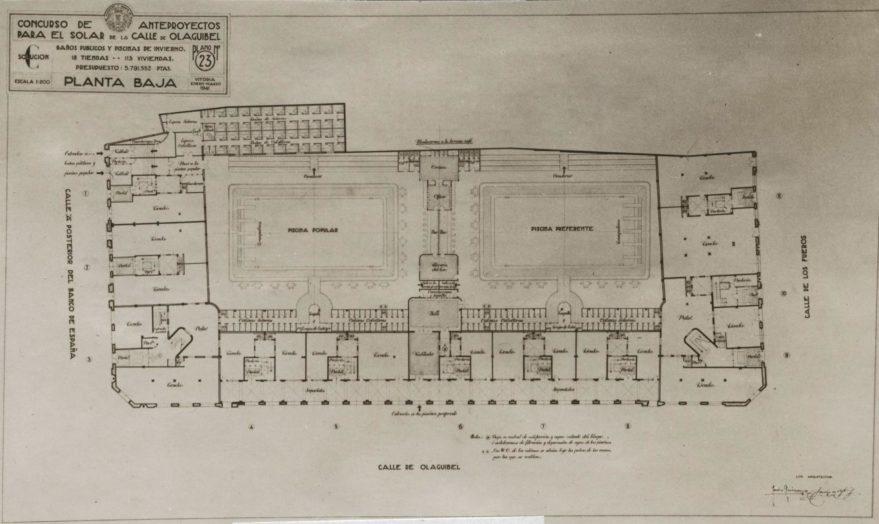 Plano del proyecto para piscinas cubiertas. Fondo Fundación Sancho el Sabio.