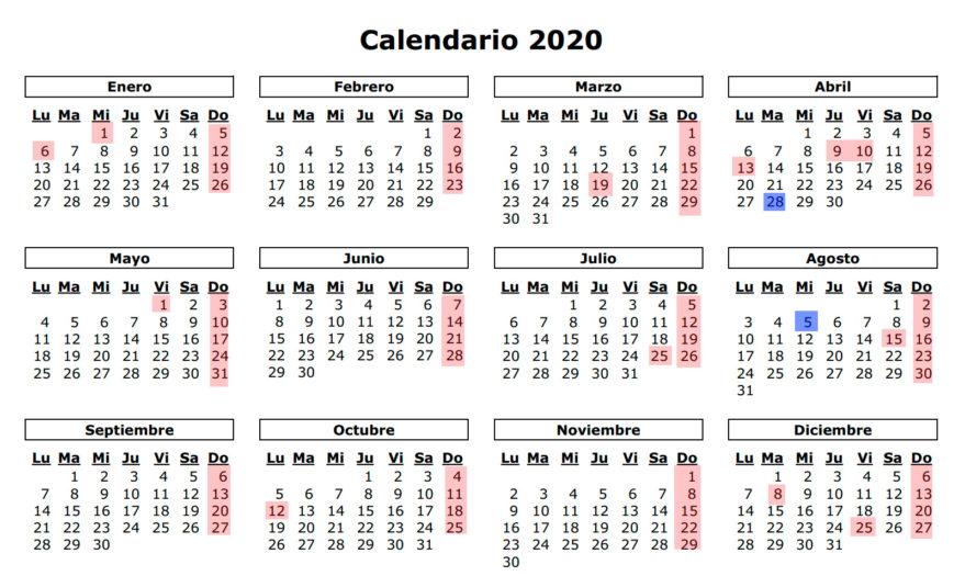 Calendario 2020 Marzo Abril.Calendario Laboral Y De Festivos De 2019 Y 2020 Gasteiz Hoy