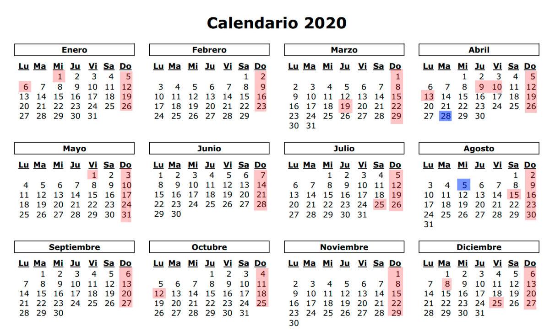 Calendario Laboral 2020 Sevilla.Calendario Laboral 2020