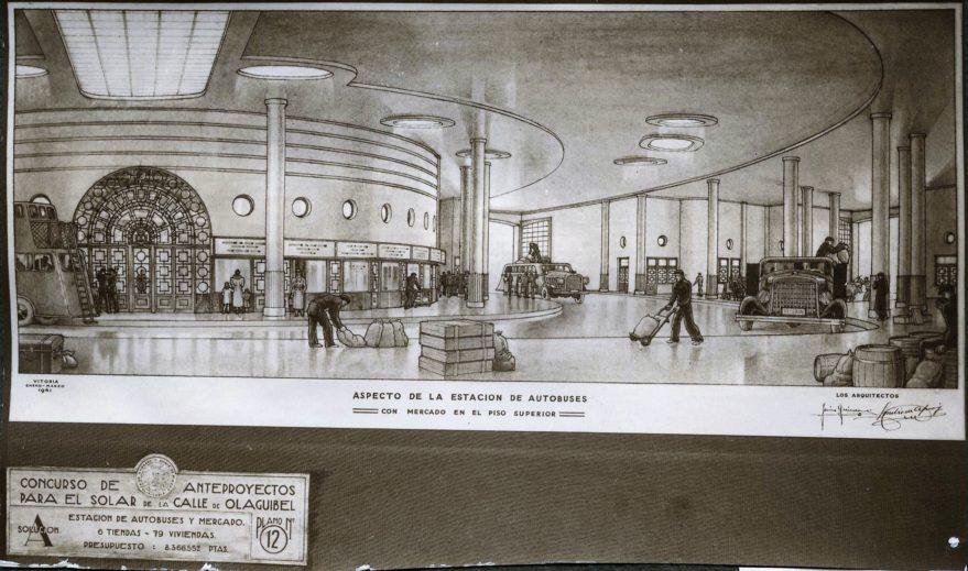 Aspecto del interior de la estación de autobuses proyectada en 1941. Fondo Fundación Sancho el Sabio.