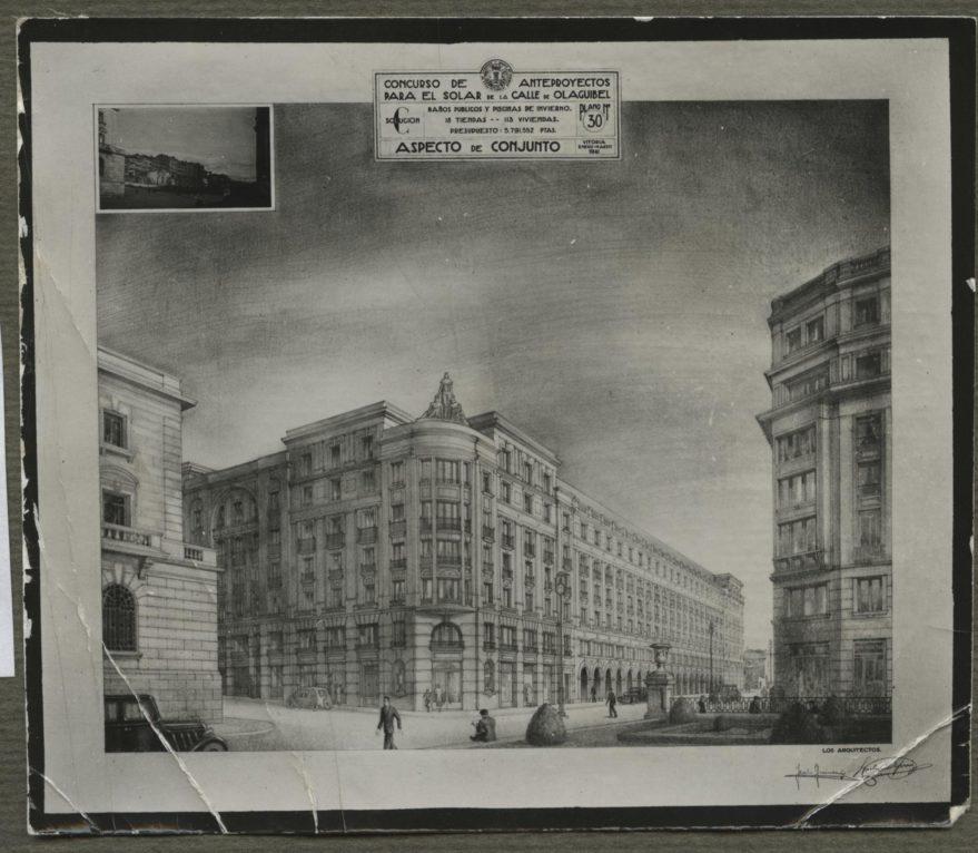 Dibujo del edificio proyectado por los arquitectos Apraiz y Guinea en el solar de la imagen anterior. Fondo Fundación Sancho el Sabio.