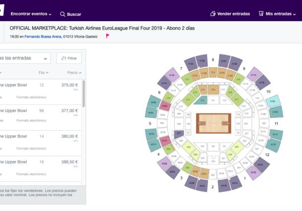 La web de entradas de la Final Four promociona la reventa a precios muy elevados