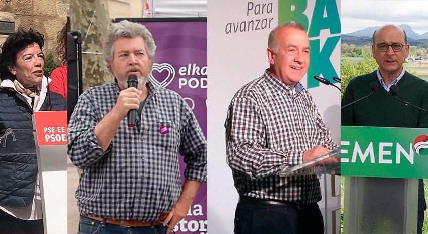 Isabel Celaá, Juantxo López de Uralde, Iñaki Ruiz de Pinedo y Mikel Legarda