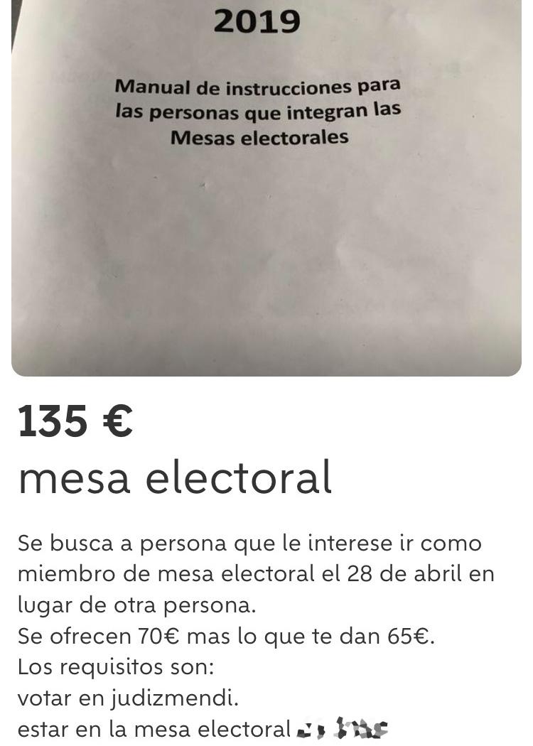 wallapop mesa electoral