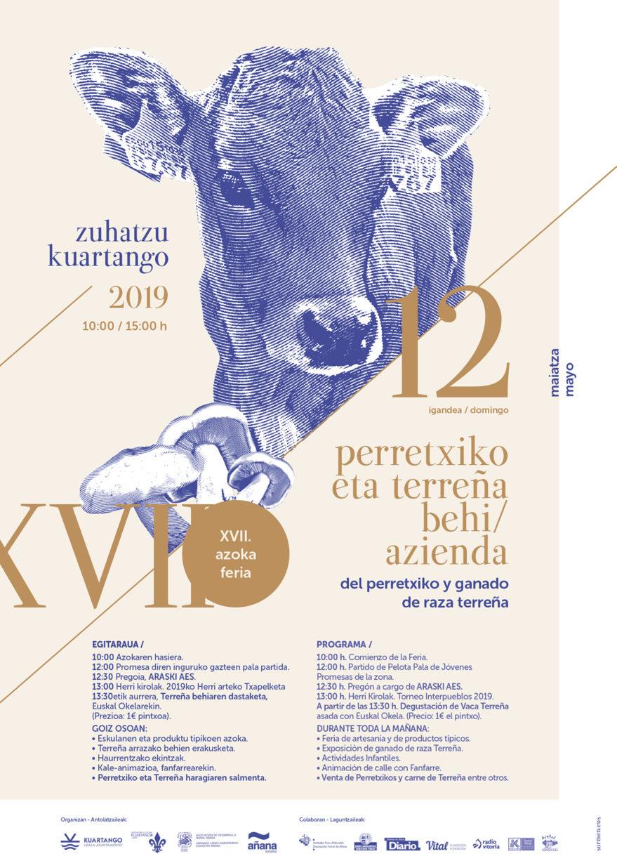 Cartel Feria perretxiko y ganado de raza terreña Kuartango
