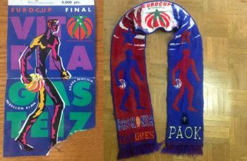 Entrada y bufanda de la final disputada el 12 de marzo de 1996 en el Pabellón Álava