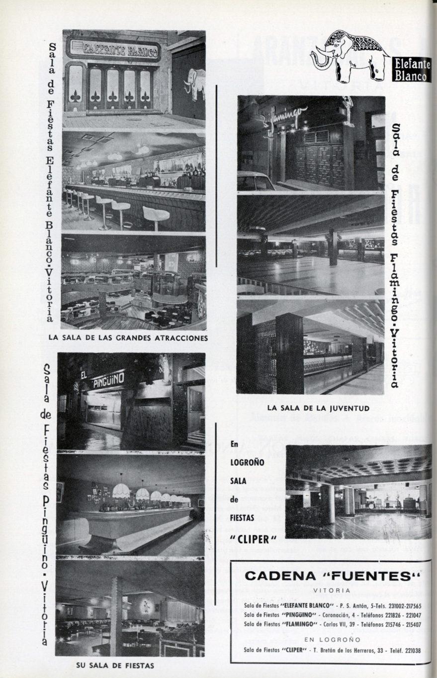 Publicidad de las salas de fiestas Elefante Blango, Pingüino y Flamingo. Vida Vasca de 1973. FSS. Euskal Memoria Digitala.