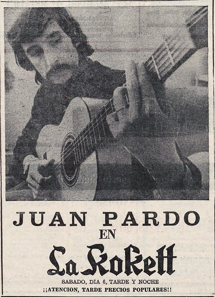 Actuación de Juan Pardo en La Kokett. Norte Expres de 10-05-1974. Hemeroteca Liburuklik.