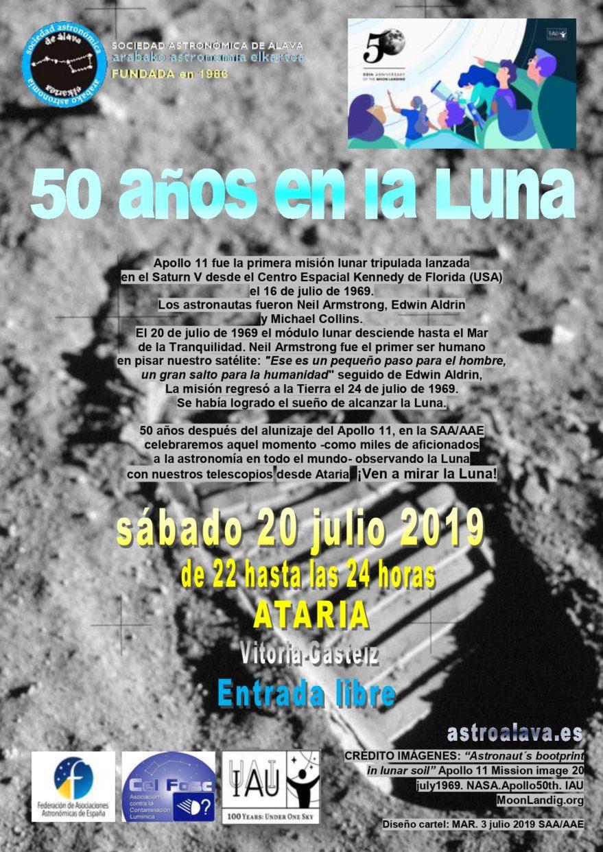 Cartel celebración 50 años en la luna