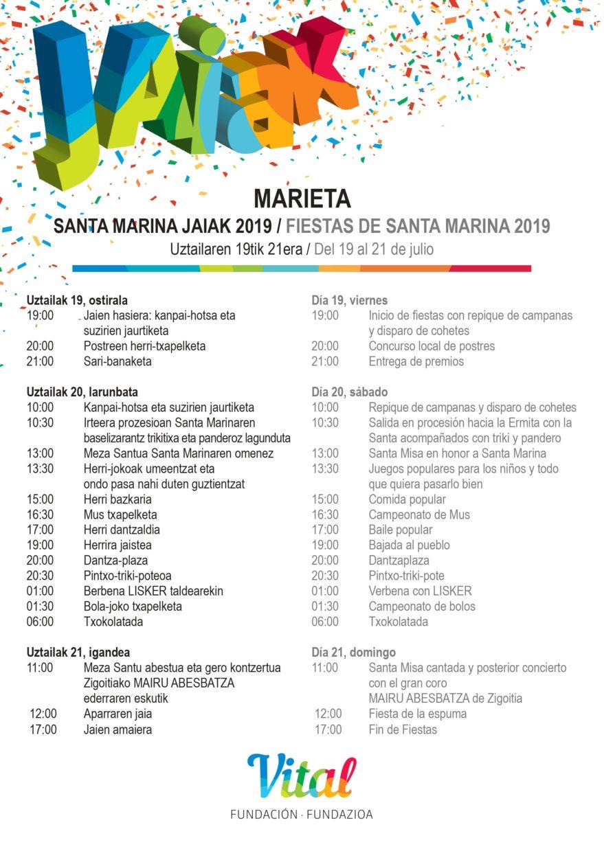Programa Fiestas Marieta 2019