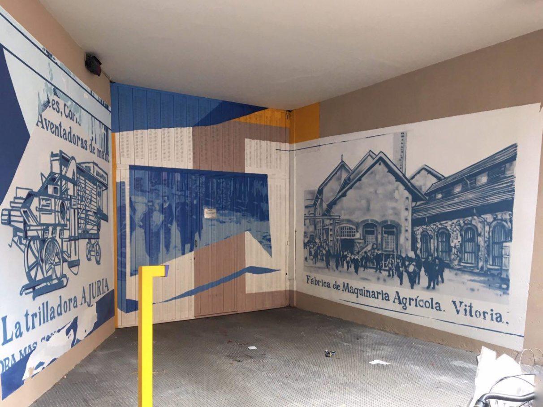 pequeños murales, Vitoria-Gasteiz, Arte Urbano, maquinaria agrícola