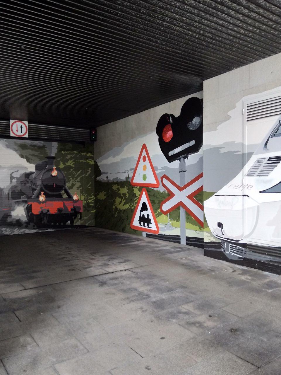 pequeños murales, Vitoria-Gasteiz, Arte Urbano, tren