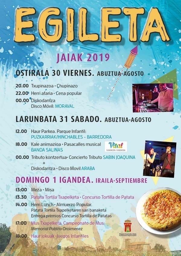 Cartel Fiestas  Egileta 2019