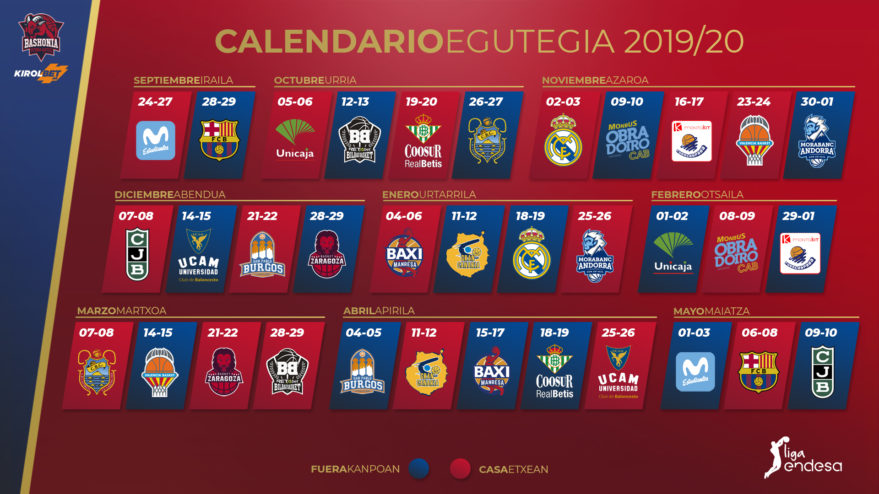 baskonia pretemporada calendario acb
