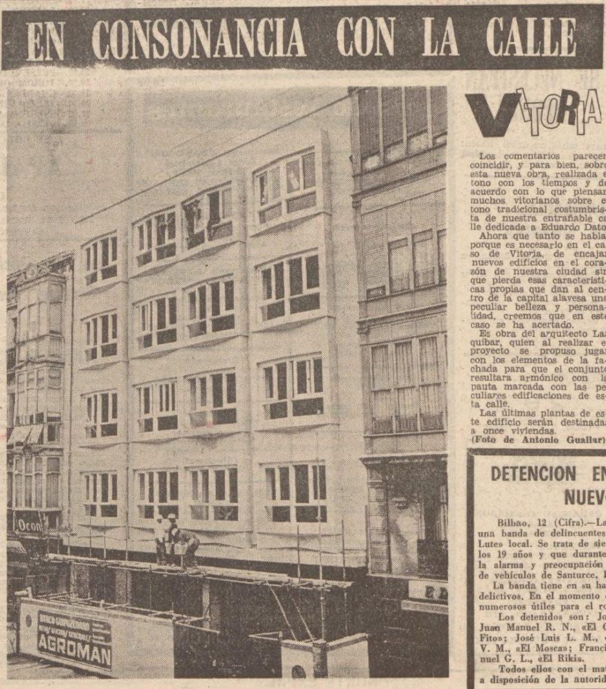 Edificio del banco Guipuzcoano recién construido en la calle Dato. Hemeroteca Liburuklik. Norte Exprés de 12 de junio de 1973.