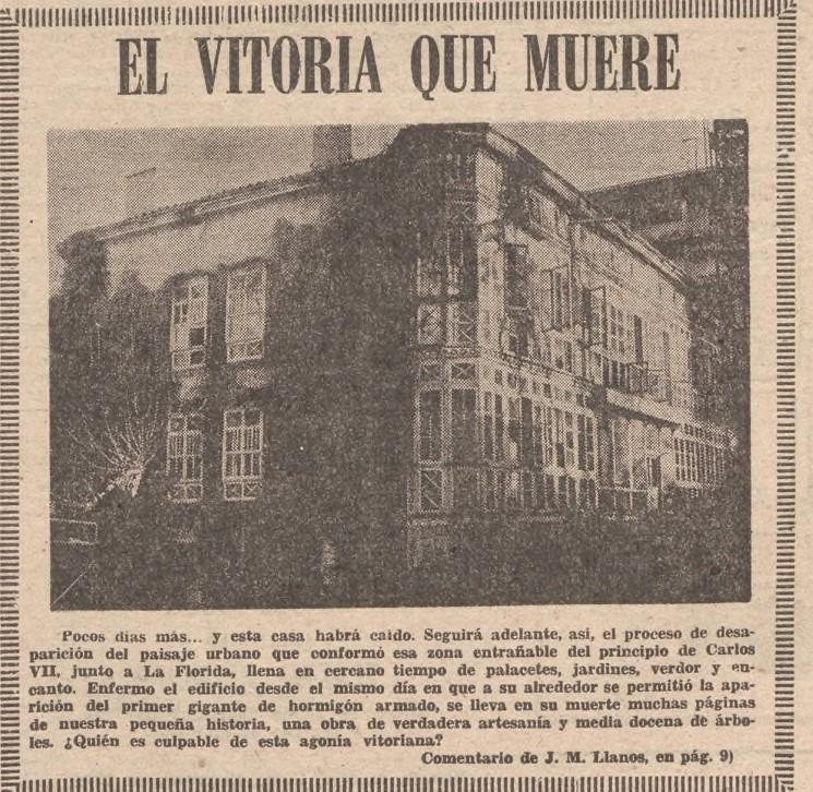 Artículo publicado en Norte Exprés critico con la desaparición del patrimonio arquitectónico. Hemeroteca Liburuklik, Norte Exprés del 17 de diciembre de 1974.