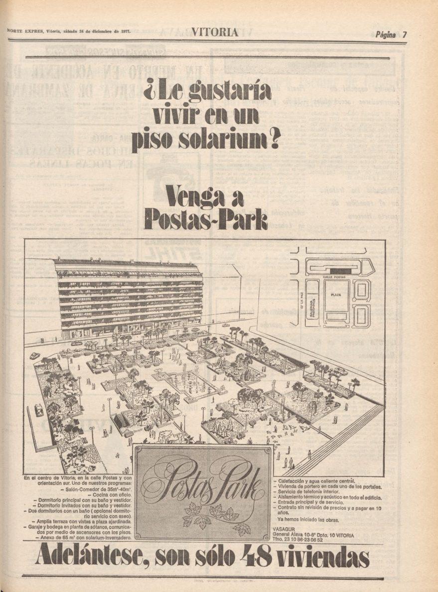 Publicidad de una de las últimas promociones construidas en el barrio a finales de los setenta. Norte Exprés de 24 de diciembre de 1977. Hemeroteca Liburuklik.