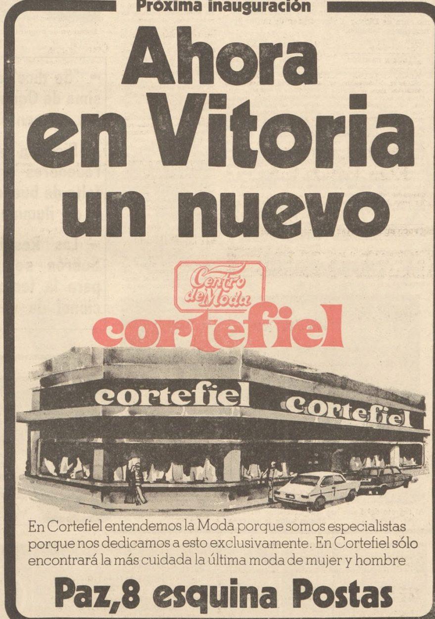 La inauguración de Cortefiel confirma la consolidación de la zona como nuevo eje comercial de la ciudad. Norte Exprés 3 de mayo de 1978. Hemeroteca Liburuklik.