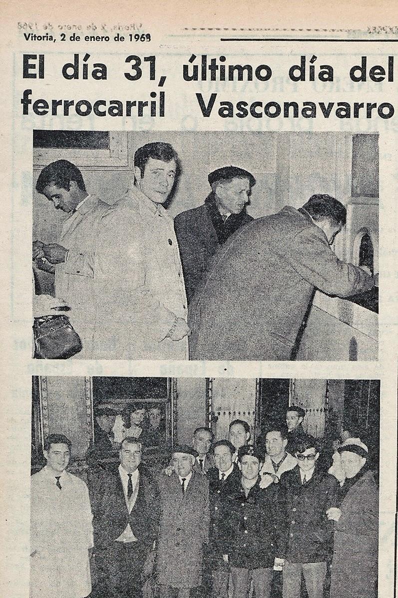 Algunos aspectos del último día en servicio del ferrocarril Vasco-Navarro. Norte Exprés 2-01-1968. Liburuklik.