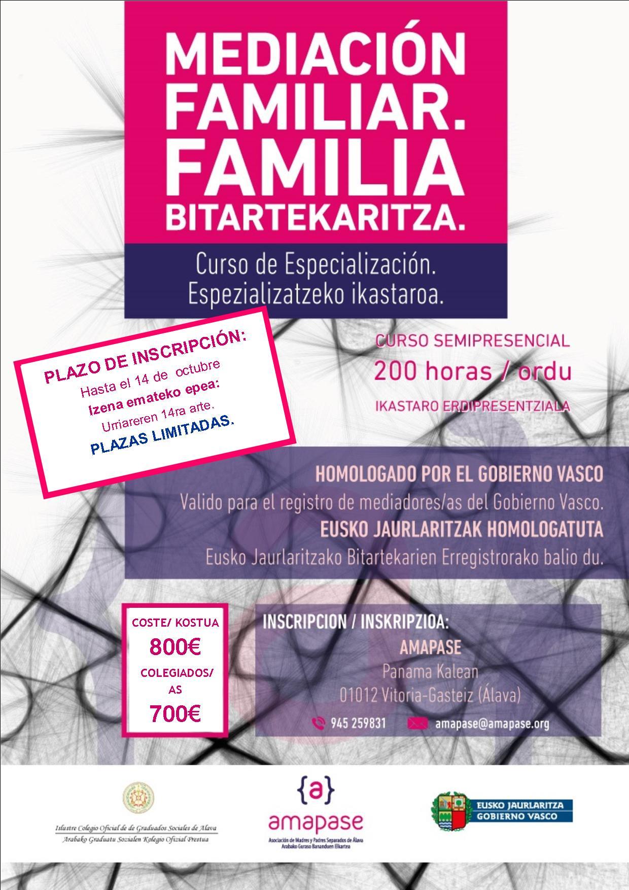 Cartel Curso Mediacion familiar Vitoria 2020