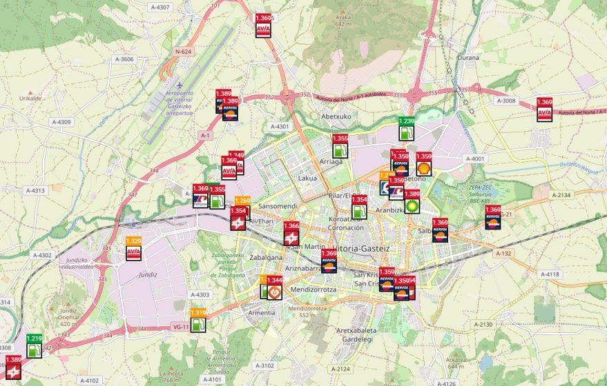 mapa de gasolineras en Vitoria-Gasteiz