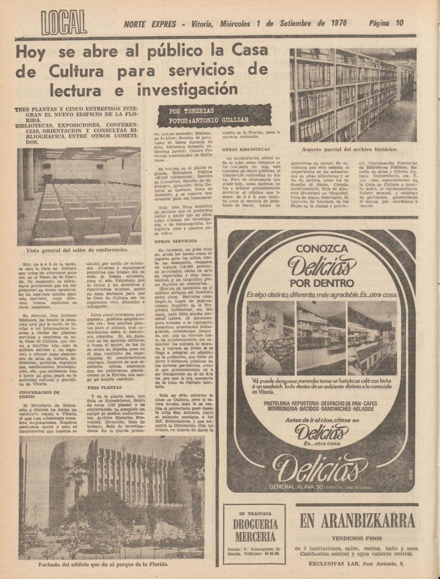 Crónica en Norte Exprés del día de la inauguración de la Casa de la Cultura. Hemeroteca Liburuklik. Norte Expres de 1/09/1976